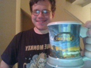 Green Mountain Coffee Hot Apple Cider from a Stormwind mug while wearing a Code Monkey t-shirt. Oh, and it had some Maker's Mark in it.