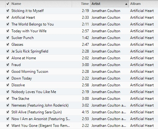 The Artificial Heart track-list, screencapped from iTunes because I'm great at using images.